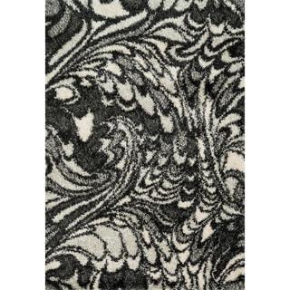Stella Charcoal/ Ivory Shag Rug (3'9 x 5'6)