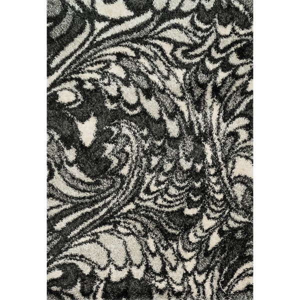 Contemporary Charcoal/ Ivory Marbled Shag Area Rug - 5'2 x 7'7