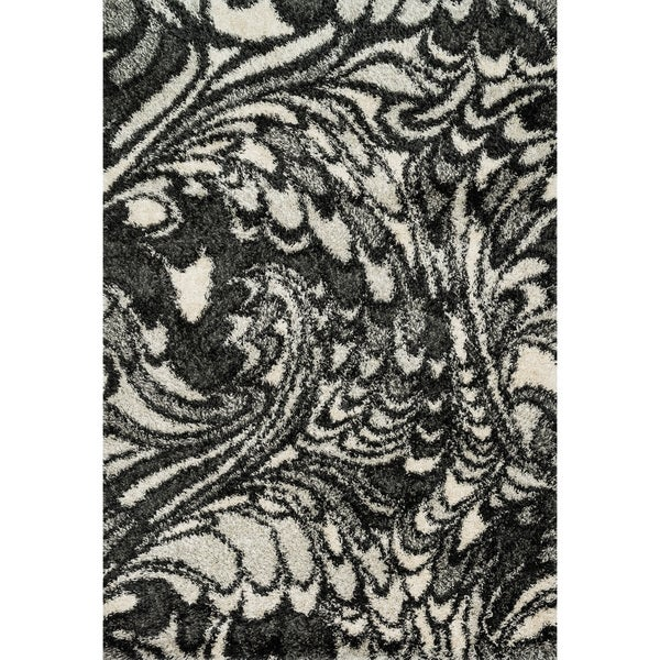 Stella Charcoal/ Ivory Shag Rug - 7'7 x 10'5