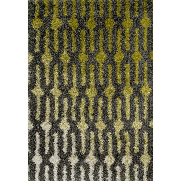 Stella Green/ Grey Shag Rug - 7'7 x 10'5