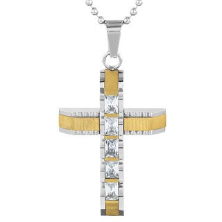 Two-tone Stainless Steel Men's Cubic Zirconia Cross Pendant Necklace