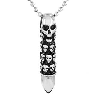 Stainless Steel Men's Death Skull Capsule Bullet Pendant Necklace