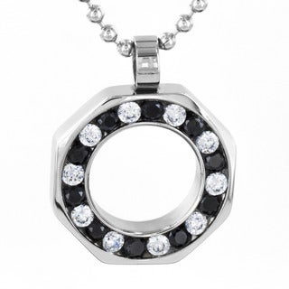 Stainless Steel Black/ Clear Cubic Zirconia Hollow Octagon Necklace