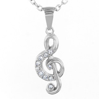 Stainless Steel Paved Crystal Treble Clef Necklace