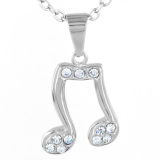 Stainless Steel Pave Crystal Music Note Fashion Necklace