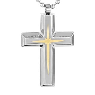 Two-tone Stainless Steel Star/ Cross Fashion Necklace