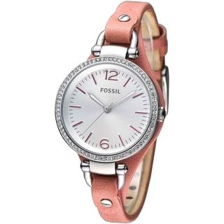 Fossil Women's Georgia Cyrstal Accented Orange Leather Skinny Strap Watch