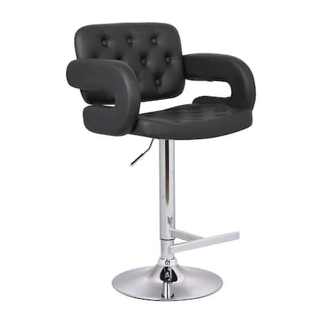 Modern Black Adjustable Button-tufted Upholstered Barstool