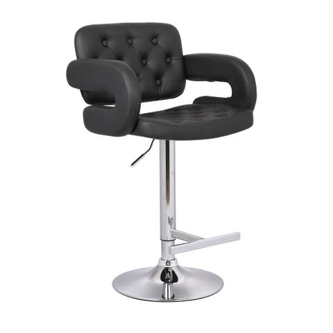 Modern Black Adjustable Swivel Tufted Upholstered Barstool