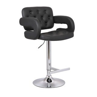 Modern Black Adjustable Button-tufted Upholstered Barstool