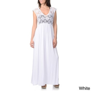 Blue Island Women's Sleeveless Crochet Bodice Maxi Dress