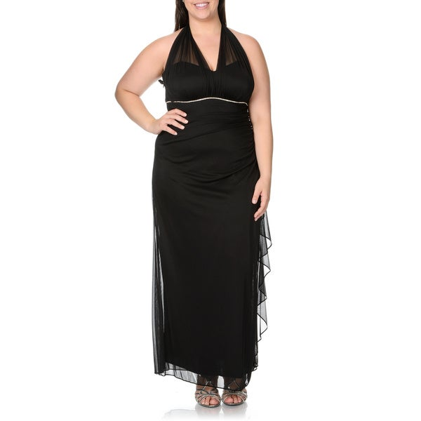 Shop Betsy & Adam Women\'s Plus Size Black Sheer Halter ...