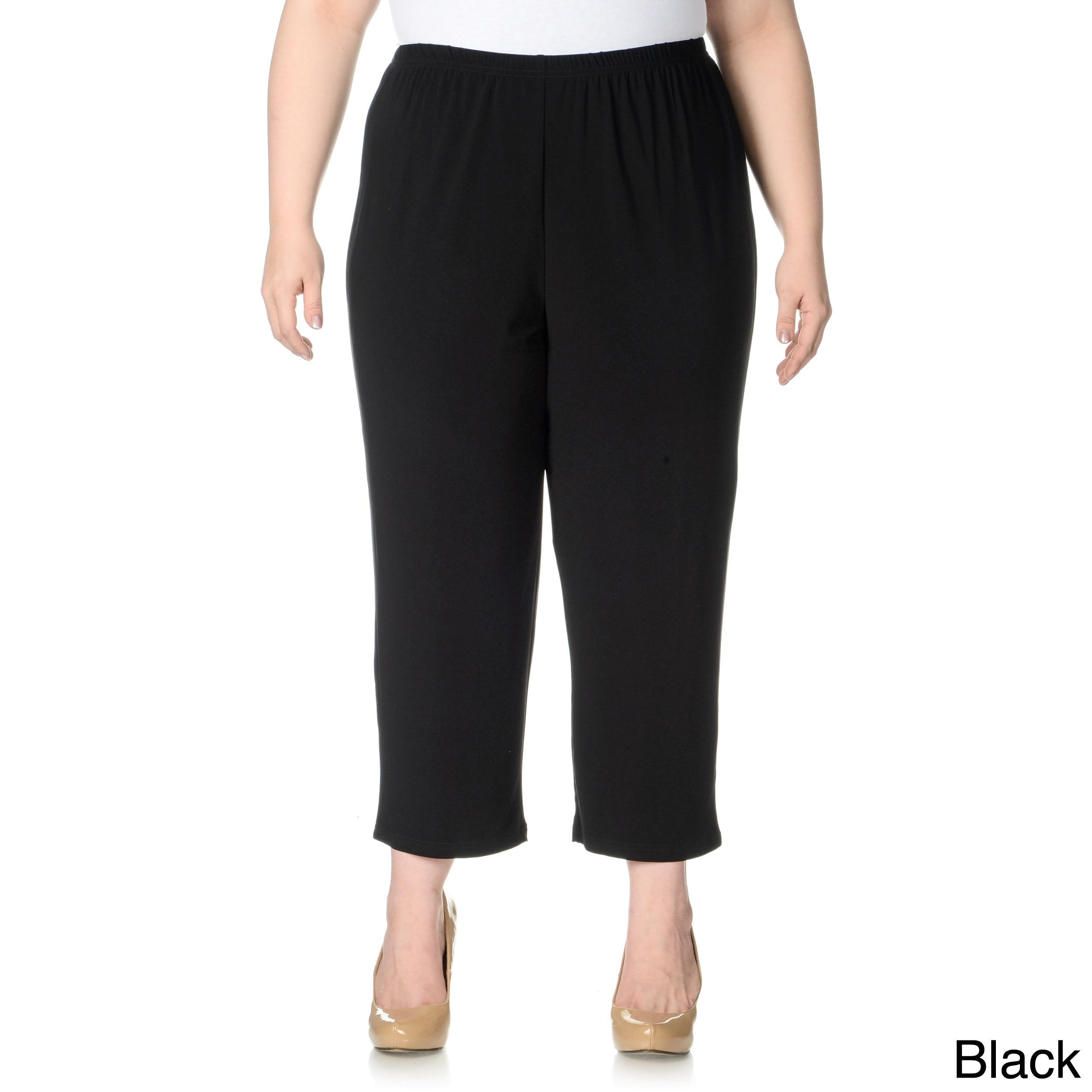 Lennie For Nina Leonard Lennie For Nina Leonard Womens Plus Size Cropped Pull on Pants Black Size 1X (14W  16W)
