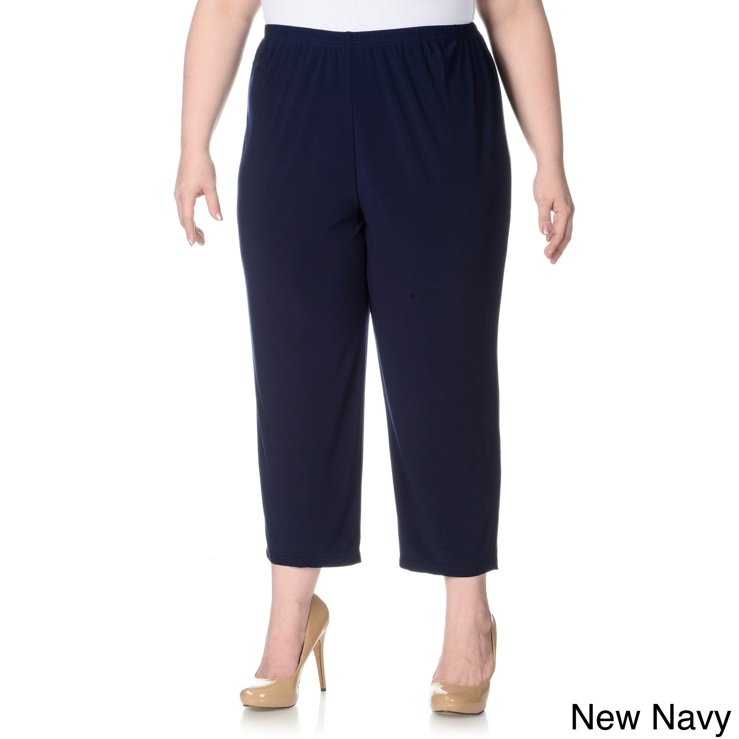 Lennie For Nina Leonard Lennie For Nina Leonard Womens Plus Size Cropped Pull on Pants Navy Size 2X (18W  20W)
