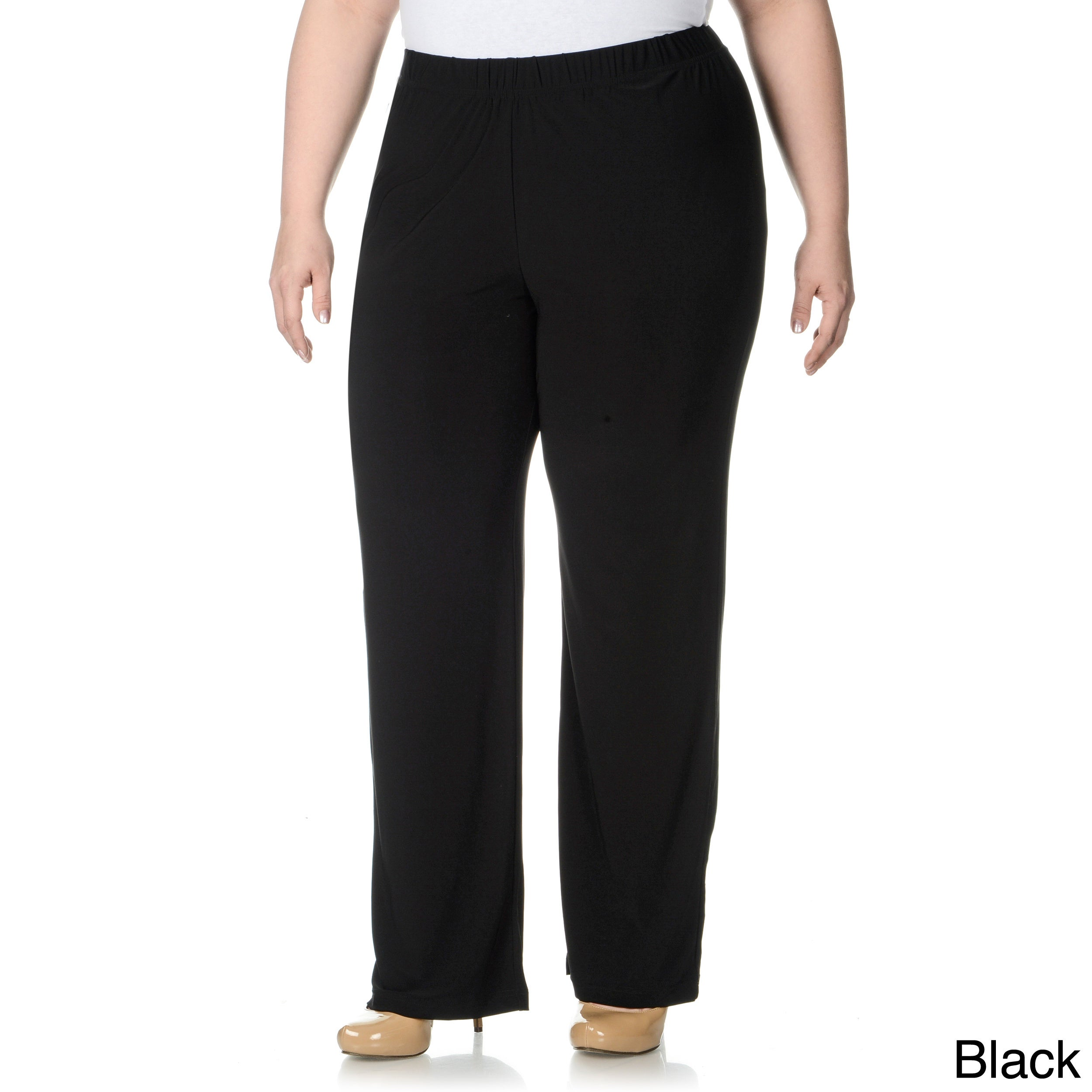 Lennie For Nina Leonard Lennie For Nina Leonard Womens Plus Size Thick Waist Band Pull on Pants Black Size 1X (14W  16W)