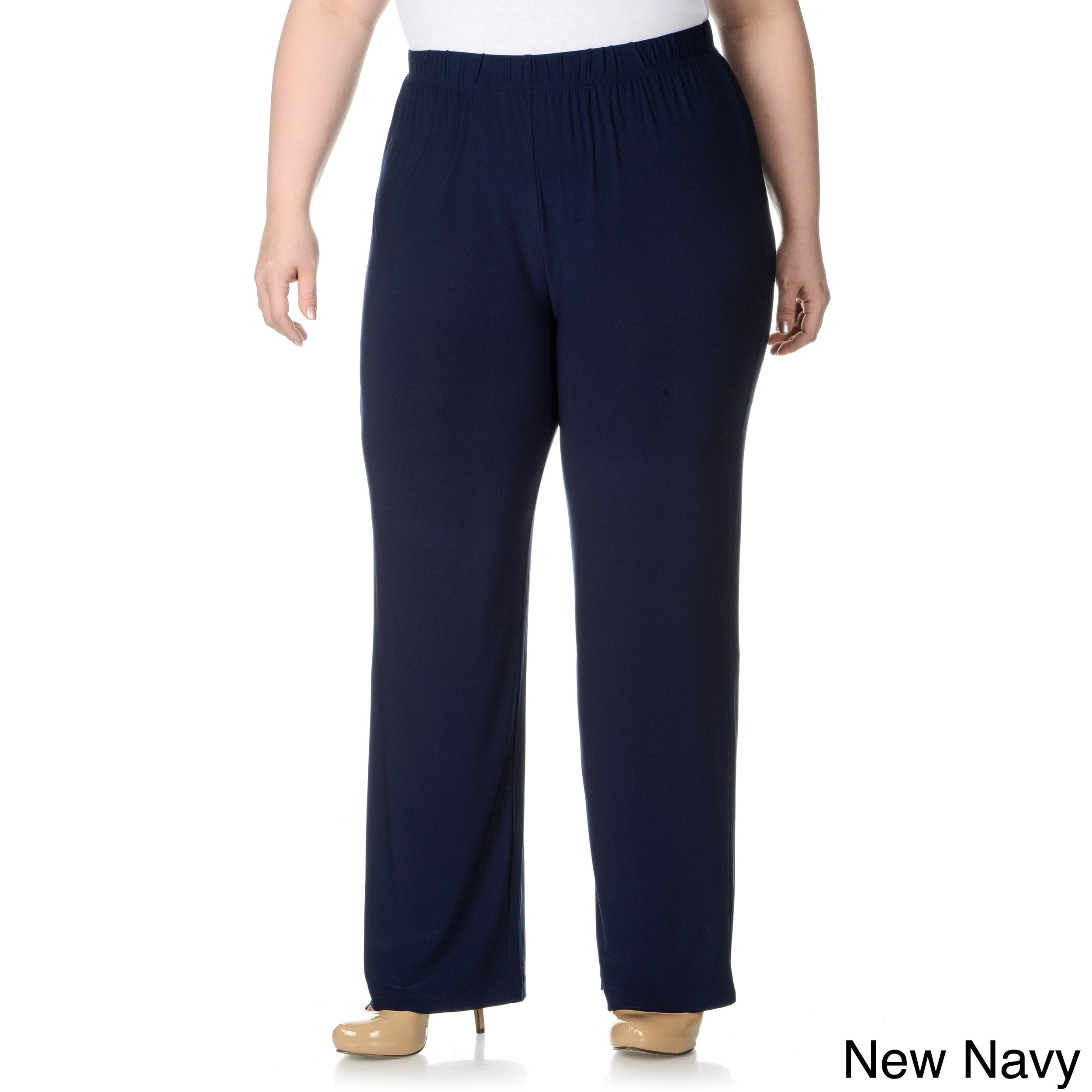 Lennie For Nina Leonard Lennie For Nina Leonard Womens Plus Size Thick Waist Band Pull on Pants Navy Size 1X (14W  16W)