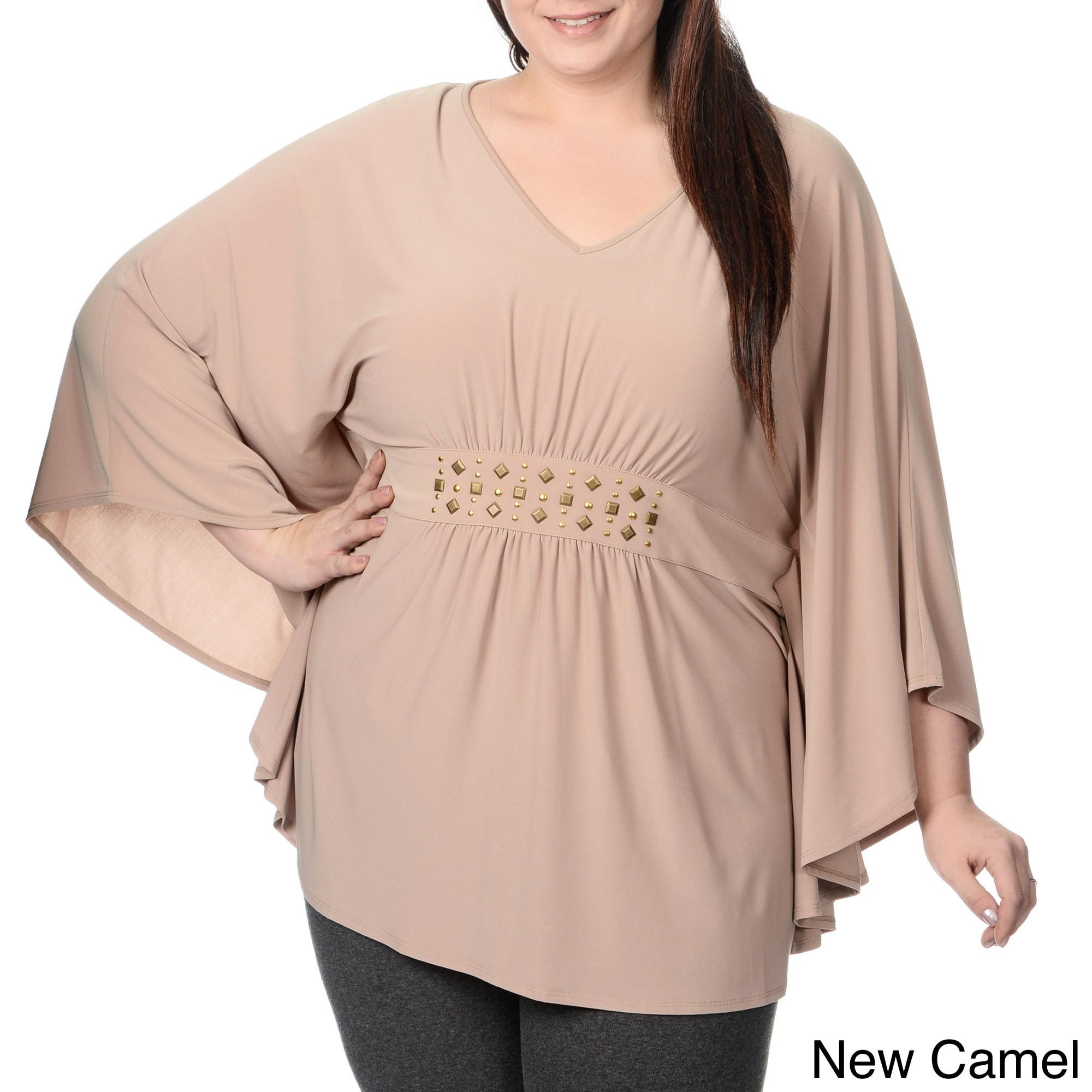 Lennie For Nina Leonard Womens Plus Size Embellished Waist Batwing Top