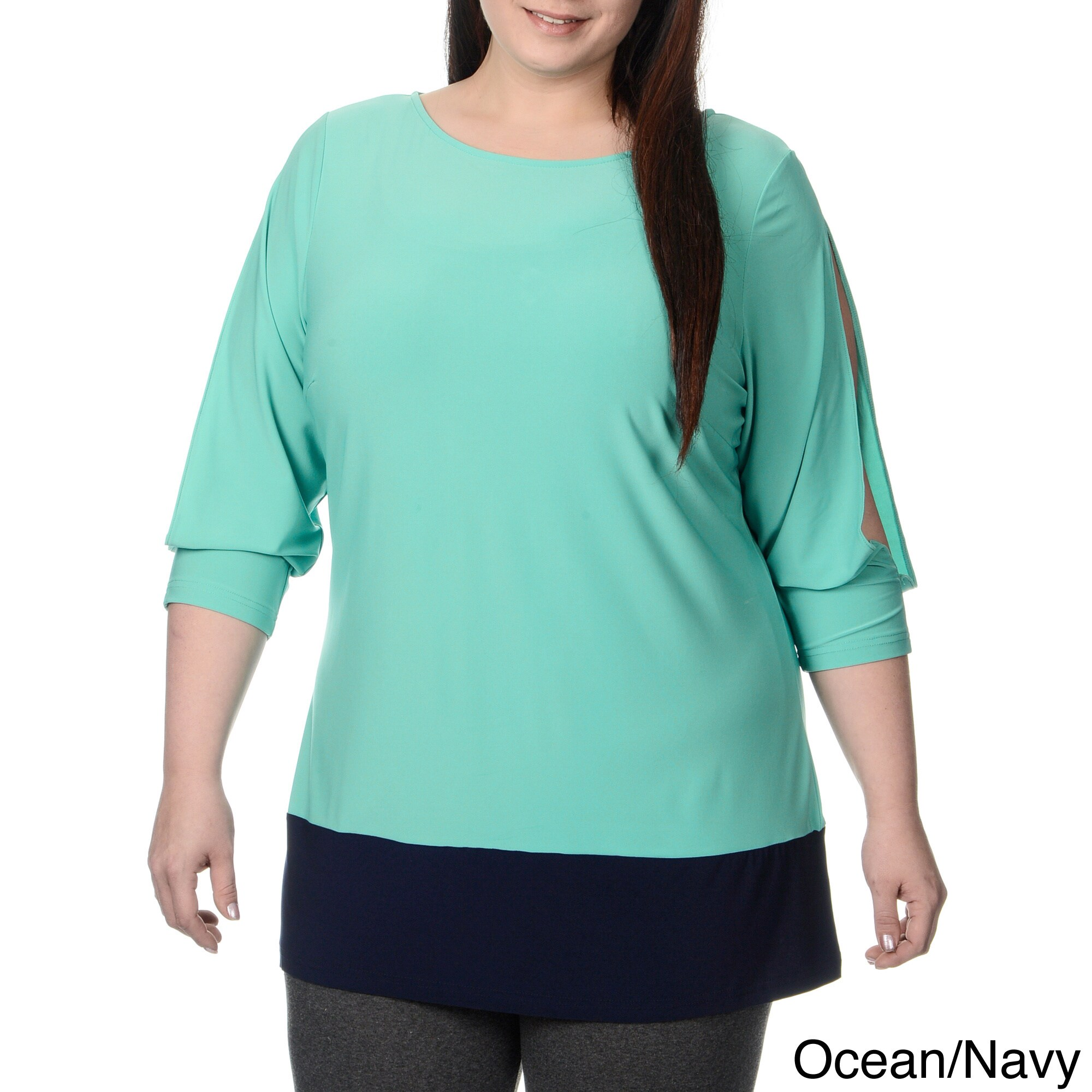 Lennie for Nina Leonard Womens Plus Size Cold Shoulder Tunic