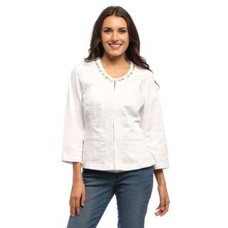 Women's White Jewel Crochet Scoop-neck Jacket
