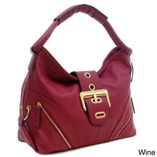 Dasein Faux Leather Buckled Flap Zipper Pocket Hobo Handbag