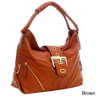 Dasein Buckled Flap Zipper Pocket Hobo Handbag (More options available)