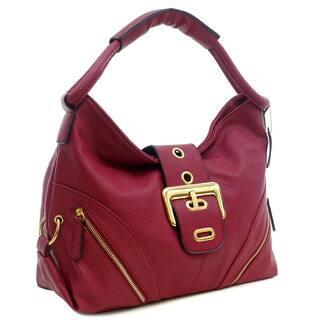 Dasein Faux Leather Buckled Flap Zipper Pocket Hobo Handbag