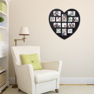 Adeco 13-opening Heart Shaped Plastic Black Wall Hanging Collage Picture Photo Frame