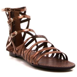 Gomax Berdine-86 Women's Multi Buckles Flat Gladiator Sandals