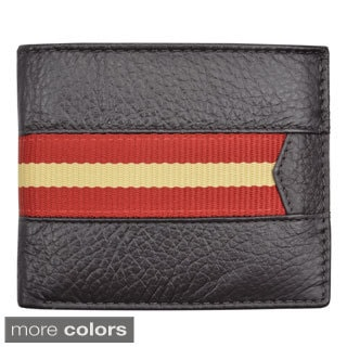 Brandio Men's Leather Striped Bi-fold Wallet