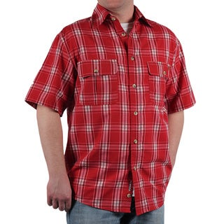 Case IH Men's Red Plaid Short Sleeve Button Down