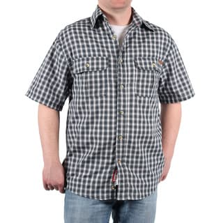 Case IH Men's Navy Plaid Short Sleeve Button Down
