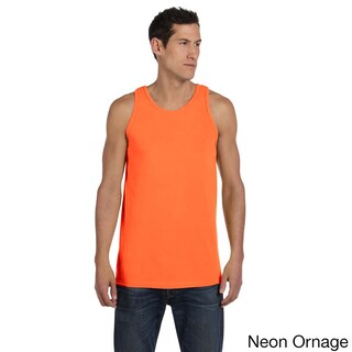 Men's Authentic Pigment-Dyed Cotton Tank (Option: L,NEON ORANGE)