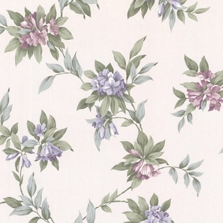 London Purple Hue Floral Trail Wallpaper