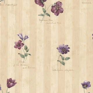 Syringa Floral Beige Stripe Wallpaper