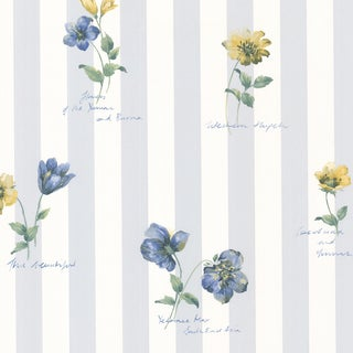 Syringa Floral Blue Stripe Wallpaper