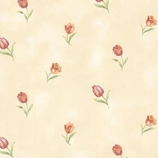 Rustic Beige Rose Toss Wallpaper