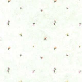 Celadon Green Small Floral Toss Wallpaper