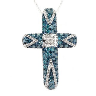 14k White Gold 2ct TDW Blue/ White Diamond Cross Necklace (H-I, I2-I3)