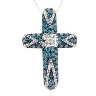 14k White Gold 2ct TDW Blue/ White Diamond Cross Necklace