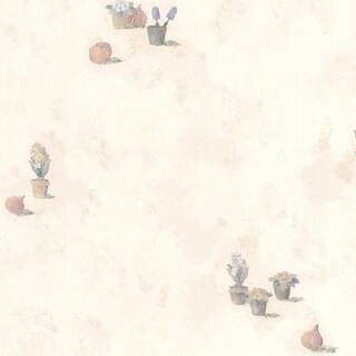 Eggshell White Plant Toss Wallpaper