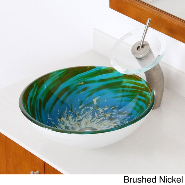 Elite Modern Blue/ Green Tempered Glass Bathroom Vessel Sink And Waterfall  Faucet Combo   Free Shipping Today   Overstock.com   16142379