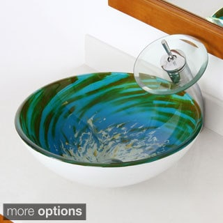 Elite Modern Blue/ Green Tempered Glass Bathroom Vessel Sink and Waterfall Faucet Combo