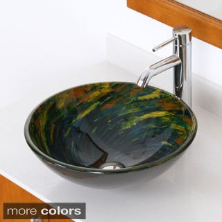 Elite Multicolor Swirl Tempered Glass Bathroom Vessel Sink and Faucet Set