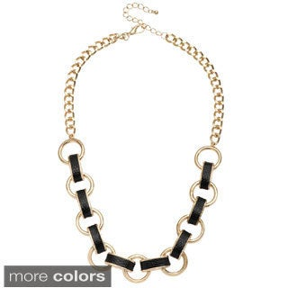 Alexa Starr Leather Inlay Link Chain Necklace