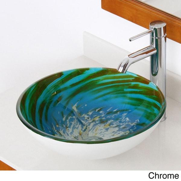 Shop elite blue green modern tempered glass bathroom - Green glass vessel bathroom sinks ...
