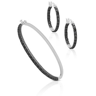 Finesque Sterling Silver Black Diamond Bangle with Bonus Earrings