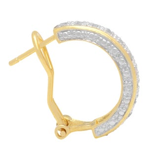 Finesque 1ct TDW Diamond Bangle with Bonus Hoop Earrings