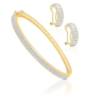 Finesque 1ct TDW Diamond Bangle with Bonus Hoop Earrings