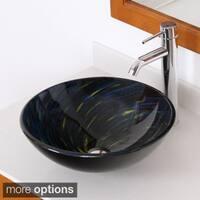 Elite Modern Design Blue Tempered Glass Bathroom Vessel Sink and Faucet