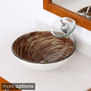 Elite Modern Design Glass Bathroom Vessel Sink and Waterfall Faucet